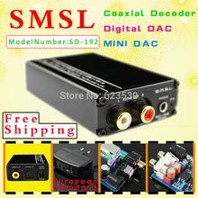 Free shipping SMSL SD-192 pro 24BIT/192Khz Upgrade Version fiber  coaxial decoder  MINI DAC /3.5mm/RCA input decoder Digital DAC(China (Mainland))