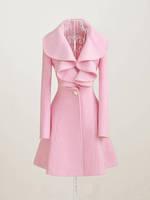 Casacos Femininos 2014 Woman Pink Trench Coat  Winter Clothes Flounced Long Woolen Overcoats