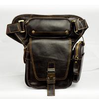 2014 New Vintage Retro Casual Oil Wax Leather Genuine Leather Cowhide Men Waist Bag Mobile Phone Bag Leg Bag Bags For Men Y3107
