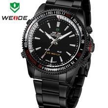 Nueva moda clásica WEIDE Mens relojes deportivos militar del ejército de acero completo fecha de alarma analógica LED Digital Dual Time reloj de pulsera regalo