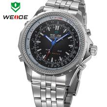 Nuevo WEIDE Mens de alarma de buceo deportivo relojes del cuarzo de japón del análogo LED Digital Dual Time Zone 30 metro Waterproofed reloj de acero completo