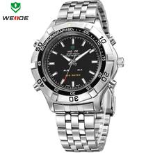 2014 WEIDE militar Waterproofed Mens de acero lleno Luxury Brand reloj de cuarzo iluminado analógico Digital pantalla LED relojes