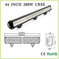 44 INCH 288W CREE  Dual Row LED Light Bar,  Automotive driving light bar,  off road light ,led work light Square with brakets