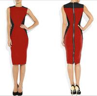 2014 women dress New 0-Neck sleeveless Fashion Work Sliming Knee-Length patchwork Party elebrity Pencil dress