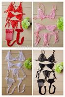 Women's VS Secret Lingerie Baby Dolls Bra Set Open Crotch G string Thong Underwear Exposed Breast Garter Belt Mesh Stocking QQ01