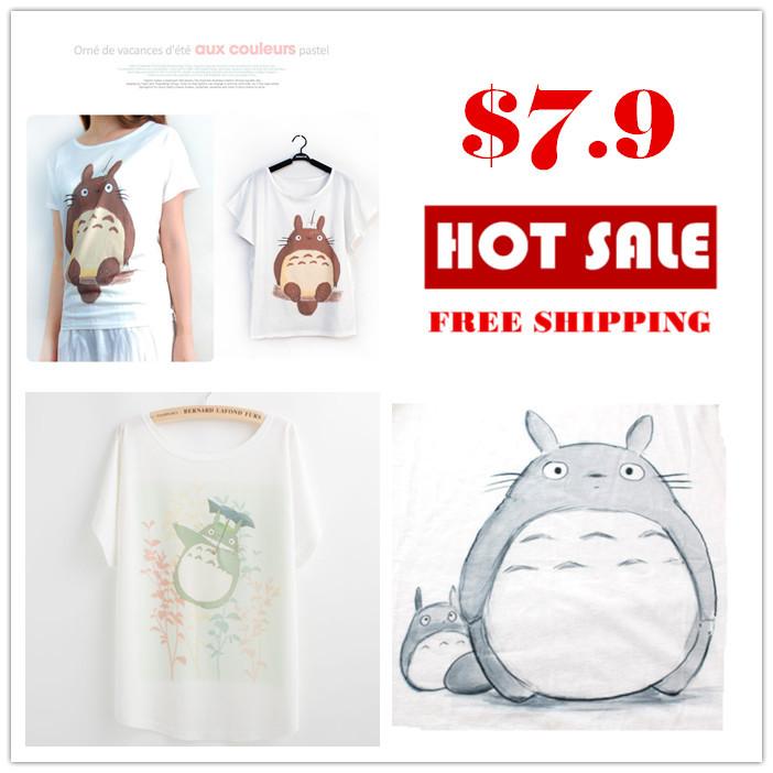 Tee shirts 2015 summer fashion women's clothing umbrella Totoro t shirt women tops batwing sleeve loose T-shirt camisetas mujer(China (Mainland))