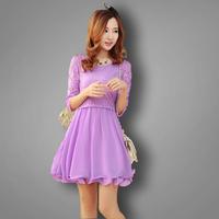 free shipping new 2014 summer spring o-neck slim three quarter sleeve lace chiffon casual dress elegant princess dress