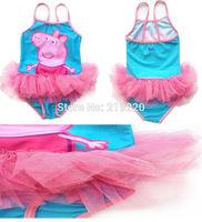 Peppa Pig Children Kids Gril Swimsuit Swimwear Peppa Pig girls Bathing Beachwear Bikini Baby Girls Swimsuits Free shipping