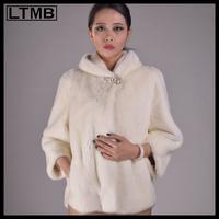 LTMB4646 Fashion white  mink fur coat for  women three quarter sleeve turn collar genuine fur jacket  2014