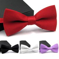 Retail New Fashion Men's Bow Tie Solid Plain Formal Wedding Groomsmen Party Tuxedo Bowtie 4 Colors You Pick
