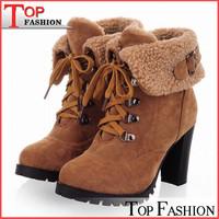 2014 Fashion Women Ankle Boots High Heels Lace up Snow Boots botas femininas Platform Pumps keep warm women boots drop shipping