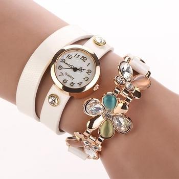 2015 новых мужчин пу кожаный ремешок часы цветок браслет женщины одеваются часы наручные часы лучший бренд опал девушки подарок мода XR292