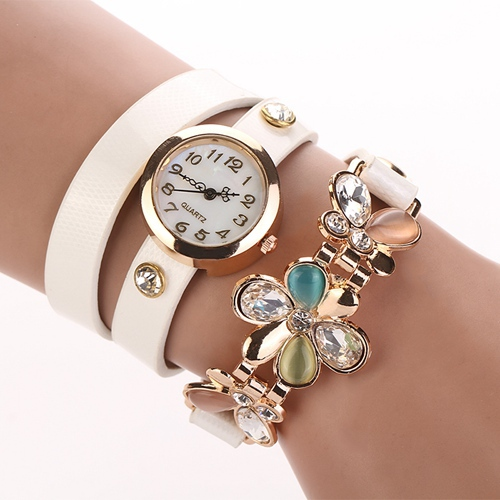 2015 New Women PU Leather Strap Watches Flower Bracelet Women Dress Watch Wristwatches Top Brand Opal Girl's Gift Fashion XR292(China (Mainland))