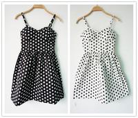 Summer 2014 New Europe Vintage Polka Dots Pad Dress Lady's Casual Print Cotton Pleated Dresses Spaghetti Strap vestido femininos