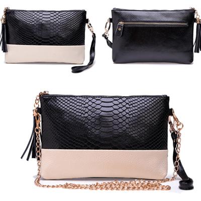 2015 Genuine Leather Women Bag Tassel Handbag Alligator Print Chain Shoulder Bag Crocodile Women Clutch HB-120(China (Mainland))