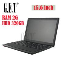 New cheap free shipping 15.6 inch laptop notebook computer Russian Spanish keyboard DVD-RW Wifi Intel D2800 1.86Ghz 2G 320G