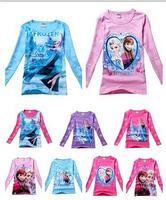 10 colors 2-8y 2014 Girls Spring Autumn Cartoon Children kids baby Frozen Princess T shirt long sleeve girl tees Top shirt