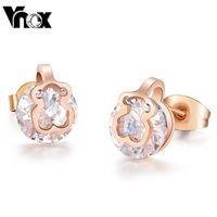 Cute Bear  Earrings Stainless Steel Stud Earrings for Women Jewelry Wholesale