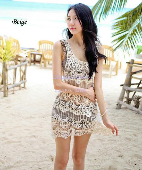 Sexy 2014 New Women's Girl Knitting Round Collar Sleeveless Flower Hollow Vest Beach Dress Bikini Smock Swimwear B12 CB018771(China (Mainland))