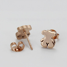 Vintage tou bear stud earrings gold small stainless steel pendientes ear jewelry for women