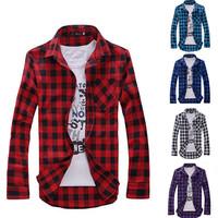 5 Colors Men's Plaid Shirts Fashion 2014 Spring New Mens Casual Long-sleeved Male Man Shirt Men Clothing Tops Camisa Xadrez T619