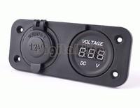 2 in 1 Waterproof Motorbike Car Cigarette Lighter Charger Power Outlet Plug And Voltmeter Socket DC 12V Wholesale #005 SV003366