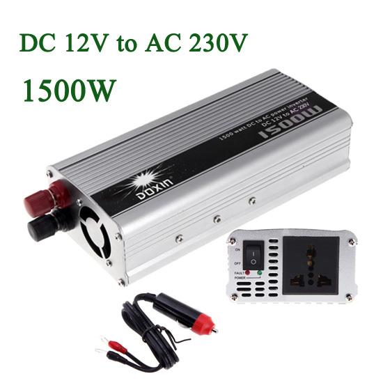 1500W WATT DC 12V to AC 230V Portable Car Power Inverter Charger Voltage Converter 12V To 230V Transformer(China (Mainland))