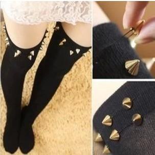 Sexy Rivets Stockings Fashion Long Tube Thigh High Meias Pantyhose(China (Mainland))