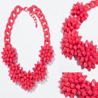 2014 fashion luxury corlorful flower red big clain vintage ZA necklaces & pendants beads gem choker collar shourouk necklace W2
