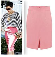 2014 New Arrival Big Size XXL Slim Hip Knee-Length High Waist Long Skirts Solid Fashion Long Pencil Skirts Women Saias Femininas