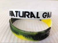 Hot sale 202x12x2mm adult size customized embossed logo text words print and color filled in cheap silicon wristband