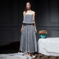 YIGELILA 885 High-end Women Custom Pearl Gauze Strapless Long Dress Free Shipping