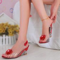 Women Shoes Hot Sale Sale Slip-on Sapatos Femininos 2014 Spring Wedges Flower Medium Hells Shoes Open Toe Sandals Women's Single