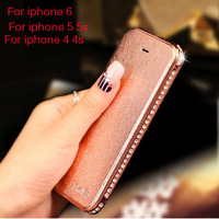 Flip PU Leather Cover For Apple Iphone 5s iphone 5 iphone 4 4s New Luxury Case With Swarovski Diamond Crystal Metal Frame Bumper