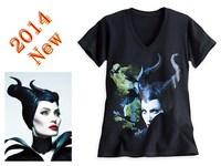 New Maleficent T-shirt Sleeping Beauty Short Sleeve Shirt Angelina Jolie Maleficent T-shirts Woman's Black Cotton T-shirt