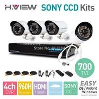 4CH 960H HDMI DVR 4PCS 700TVL SONY CCD IR Outdoor Weatherproof CCTV Camera 36 LEDs Home Security System Surveillance Kits No HDD