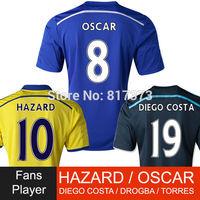 8 OSCAR 14/15 chelsea jersey  DIEGO COSTA 2015 chelsea soccer jesrey HAZARD DROGBA TORRES 2015 away black chelsea footbal shirt