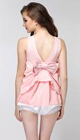 H&Q 2014 new runway summer fashion sweet OL ladies solid color V neck back bow design pink black white blouse shirt S,M,L