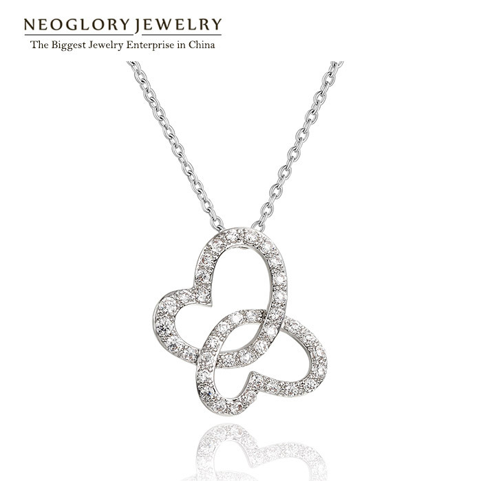Neoglory CZ Stone 2 Heart Love Necklaces Pendants for Women Jewelry Accessories Romantic 2015 New Valentine