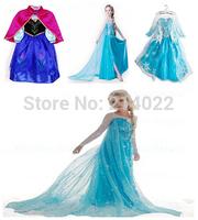 real picture 2014 new Frozen clothes elsa princess dress girls dresses Costume kids girls Blue Dress party dreeess free.
