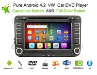 Free Shipping, Android 4.2 VW GOLF POLO PASSAT CC JETTA TIGUAN TOURAN EOS SHARAN SCIROCCO CADDY  Car DVD+Stereo+GPS Navigation