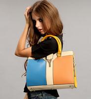 Factory wholesale high quality women handbag contrast color shoulder bag fashion big commuting bag women messenger bag b142P0