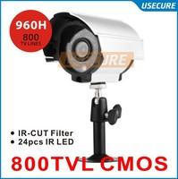 CCTV video Surveillance security Cameras CMOS 800tvl with IR CUT 960H 24pcs IR waterproof indoor/outdoor camera with bracket