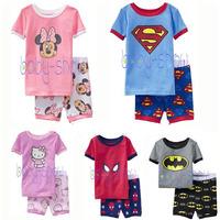 Children's Pajama Sets Short Sleeve Cartoon Pajamas For Boy Girl Kids Summer Clothing Set Tshirt Pant 2014 New