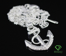Wholesale jewelry 18k white gold plated silver color made with Austrian crystal rhinestone anchor necklace