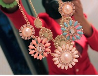 New Arrival High Quality 2014 New Fashion Resin Rhinestone Flower  Necklaces for Women Ladies Gifts B16 SV004169
