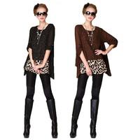 2014 New Fashion Womens Leopard Long Sleeve Irregular Chiffon Shirt Blouse Tops Y45*E2663#S7