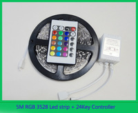 5M/roll 60led/M led strips smd 3528 DC12V safe led bar light plus 24Key IR remote controller with DC wire