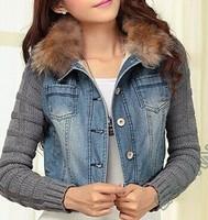 2014 short fleece denim jacket coat women winter casual slim yarn large fur collar lamb cotton denim outerwear jeans SALE M05825
