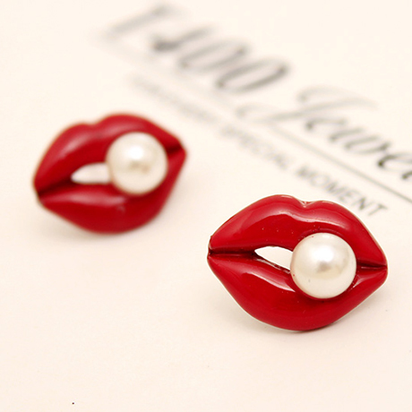Sexy Red Mouth Pink Love Lip Rhinestone Pearl Stud Earrings for Women Jewelry